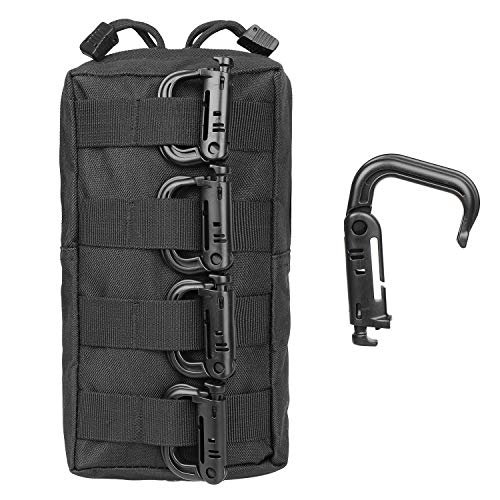 Gohiking Molle Pouch 2 Pack Tactical Compact EDC Utility Gadget Waist Bag with 10 Pack Multipurpose D-Ring Grimloc Locking Hook by Gohiking (Image #5)