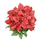 Admired-By-Nature-7-Stems-Faux-Poinsettia-Sequins-Flowers-Bush-for-Home-Office-Hotel-and-Seasonal-Eventsarrangement-Decoration-Red