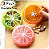 3 Pack Weekly Rotation Pill Organizers, Magnoloran 7-Day Pill Box Pill Holder Medicine Storage Case Medicine Dispenser Container with 7 Compartments for Daily Medication, Vitamins & Supplement