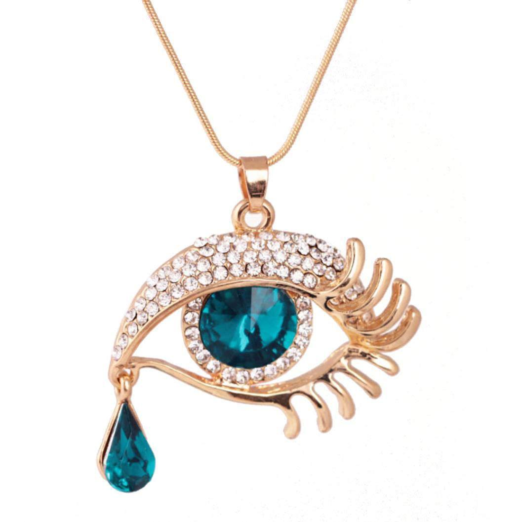 Mode Magic Eye Cristal Tear Drop Cils Collier Long Pull Cha/îne TOWAKM Pendentif Femme