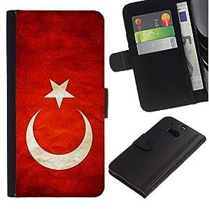 Billetera de Cuero Caso Titular de la tarjeta Carcasa Funda para HTC One M8 / National Flag Nation Country Turkey / STRONG