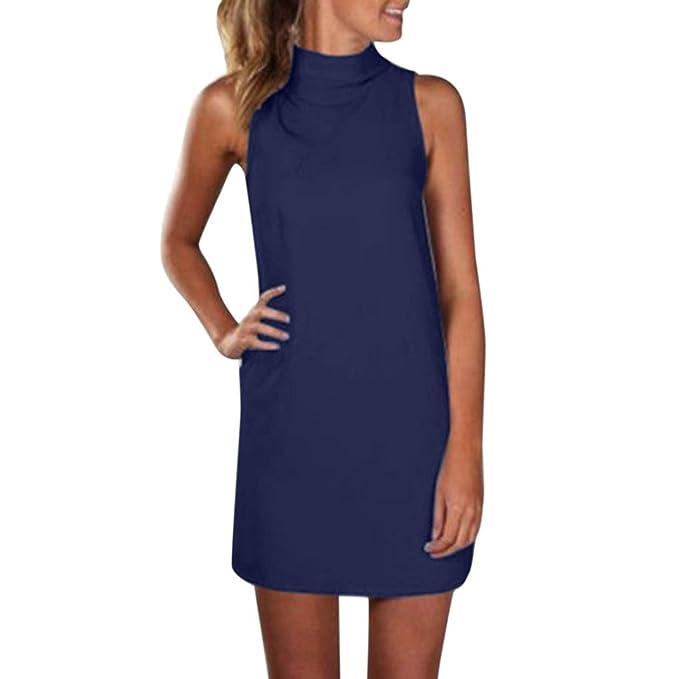 Blusa Mujer 2018,Cuello alto para mujer Tops Mini vestido de fiesta de