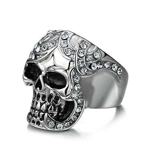 KnSam Men Wedding Bands Stainless Steel Skull White Crystal Rhinestone Silver Size (Celtic Skull Zippo Lighter)