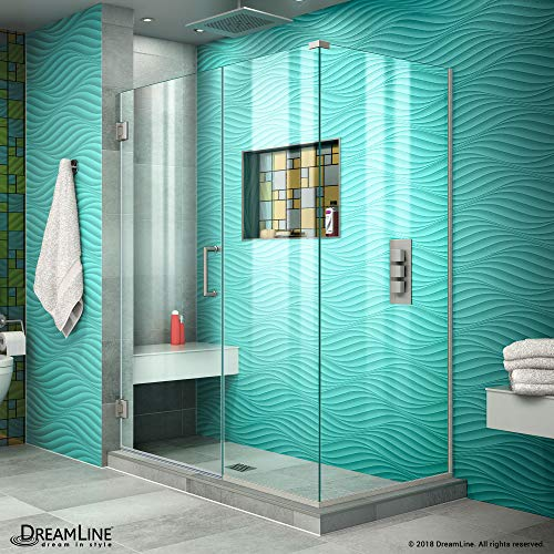 DreamLine Unidoor Plus 46 in. W x 34 3/8 in. D x 72 in. H Frameless Hinged Shower Enclosure, Clear Glass, Brushed Nickel, - Clear Enclosure Shower Glass