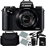 Canon PowerShot G5 X Digital Camera 16GB Bundle 10PC Accessory Kit. Includes Manufacturer Accessories + 16GB Memory Card + 2 Replacement NB-13L Batteries + AC/DC Rapid Home & Travel Charger + Pistol Grip/Table Top Tripod + Micro HDMI Cable + MORE