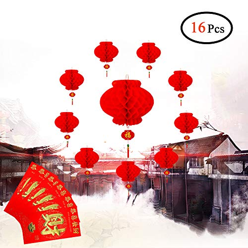 "Chinese New Year Decoration Lantern, Lunar New Year Lanterns Decoration, Red Paper Lanterns, Size 10"" Set of 10 with 6 Free Red Envelopes"
