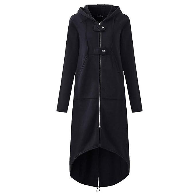 97b285a845ab66 Availcx Trench Coat Casual a Manica Lunga con Cappuccio 2019 Autunno Nero  Zipper Plus Size 5XL Velluto Lungo Cappotto Cappotto Donna Overcoat:  Amazon.it: ...
