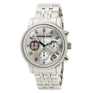 MK Women's Watches Silver Chronograph with Stones Ritz Silver-Tone Watch MK5020