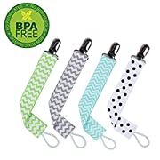 Pacifier Clip by Wsky - 4 Pack, Best Pacifier Holder-2-Sided Stylish Design, Perfect Baby Shower Gift