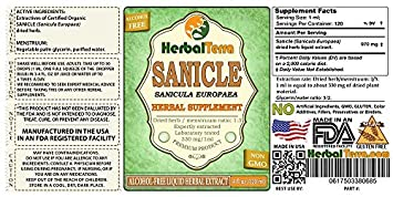 Sanicle Sanicula Europaea Glycerite, Dried Herb Alcohol-Free Liquid Extract Brand Name HerbalTerra, Proudly Made in USA 32 fl.oz 0.95 l