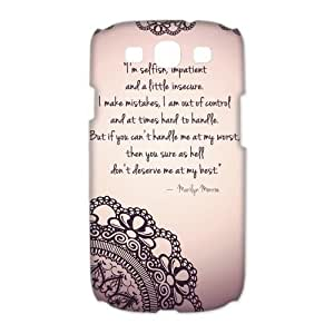 Aozzo Samsung Galaxy S3 Case - Marilyn Monroe Quote Galaxy S3 Snap On Hard Case