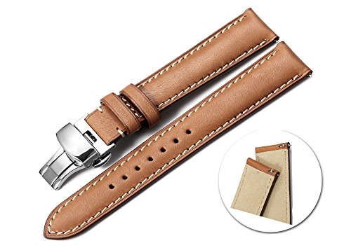 iStrap 20mm Calf Leather Strap Quick Release Watch Band Button Deployment Clasp Replacement Brown 20