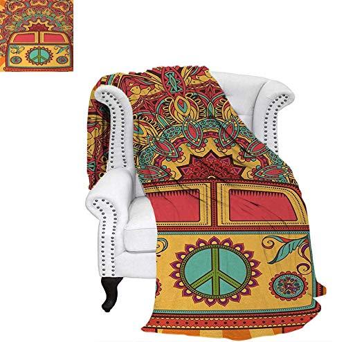 Super Soft Lightweight Blanket Hippie Vintage Mini Van Ornamental Backdrop with Peace Sign Artwork Oversized Travel Throw Cover Blanket 50