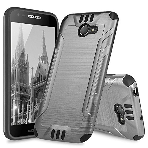 Alcatel A30 Case, Alcatel Kora Case, Alcatel Zip LTE Case, TJS Dual Layer Hybrid Shockproof Impact Resist Rugged Drop Protection Case Cover Metallic Brush Finish with Hard Inner Layer (Grey)