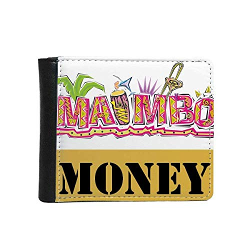 Mexico Culture Elment Pink Mambo Slogan Money Wallet Purse Flip Bifold Faux Leather Multi-Function