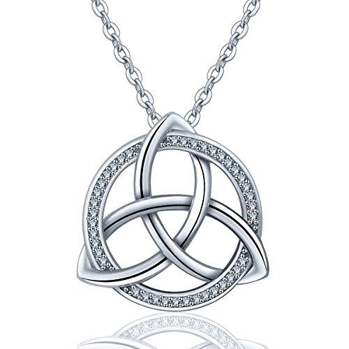 INFUSEU Sterling Silver Irish Celtic Knot Trinity Triquetra Triangle Pendant Necklace Cubic Zircon CZ Jewelry