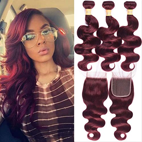 Wome Hair Brazilian 3 Bundles Curly Hair Weft With 4x4 Lace Frontal Closure Popular Burgandy Wine Red 99J Body Wave Hair Bundles (18 20 22+18, 99J)