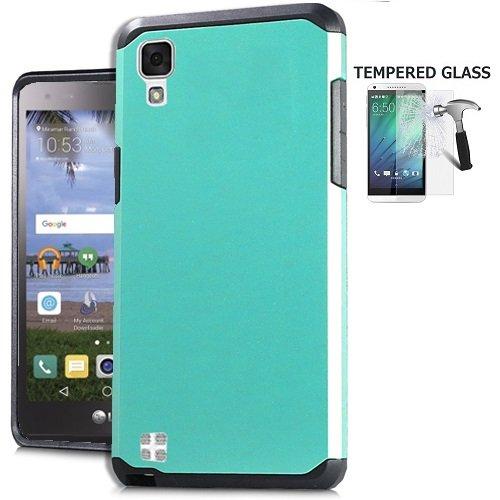 [해외]전화 케이스 스트레이트 토크 L53BG LG X 스타일 4G LTE 스트레이트 토크 L56VL 케이스 LG 공 물 HD 4G LTE 케이스 강화 유리 + 고무 하드 듀얼 레이어 커버 케이스 (청록) / Phone Case for Straight Talk L53BG LG X Style 4G LTE Straight Talk L...