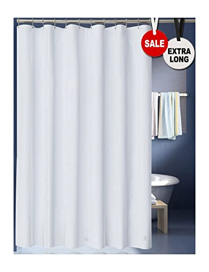 LanMeng Solid White Fabric Shower Curtain Liner Extra Long Mildew Free Water