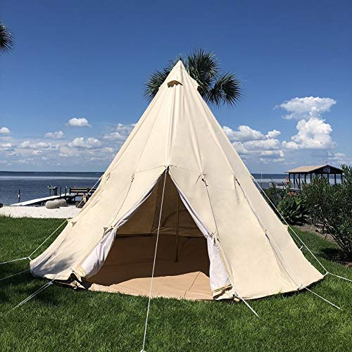 - Dream House Three-Seasons Cotton Canvas Family Camping Indian Teepee Tent (Beige Cotton Canvas, Diameter 5M/16.4FT)