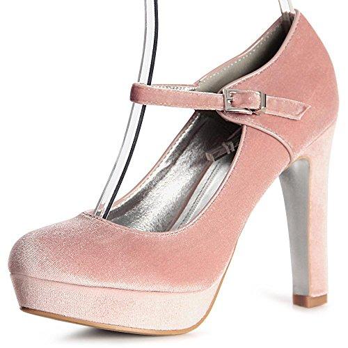 vestir de topschuhe24 de Zapatos mujer Rosa para tela zCwwExaq