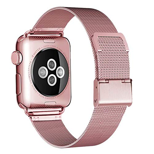 Sport Watch Steel Band - HILIMNY Compatible for Apple Watch Band 38mm 40mm, Stainless Steel Mesh Sport Wristband Loop with Adjustable Magnet Clasp for iWatch Series 1/2 / 3/4, Rose Gold