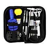 SaveOnMany ® 13 Piece + 1 free Hammer Watch Repair Kit Set with Durable Zip Case, Wrist Strap Adjust Pin Tool Kit Back Remover Fix Battery Bracelet Pin Punch Link Remover and More