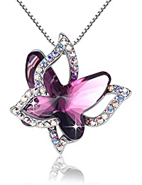 Purple Butterfly Necklace Amethyst Pink Pendant Women Necklace Made with Swarovski Crystals Gifts for Her