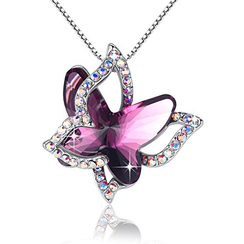 (GEMMANCE Purple Butterfly Necklace Amethyst Pink Pendant Women Necklace Made with Swarovski Crystals,White Gold Plated Silver Tone, 18