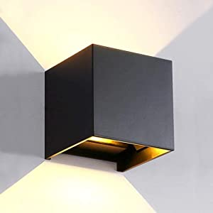 LANFU LED Aluminum Waterproof Wall Lamp, Waterproof Outdoor Light 6W 100-277V 3000K Adjustable Outdoor Wall Light Warm Light 2LEDS (Black-6W, Outdoor)
