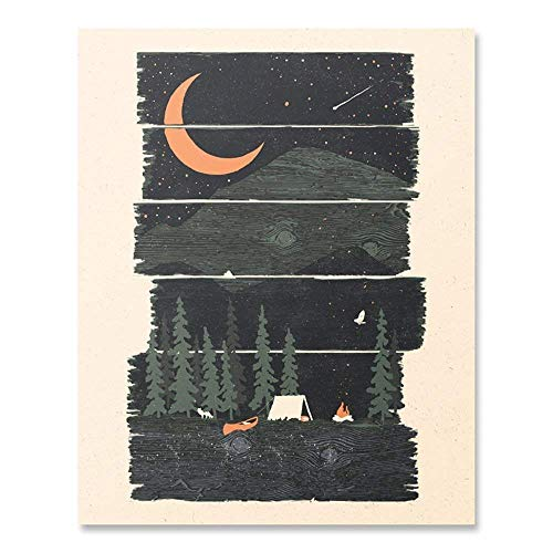 Wall Art Night Sky Mountain Print with Shooting Star and Crescent Moon Scene - Beautiful Pine Tree Forest Outdoor Wilderness Camping Home Decor 8 x 10 Inches Unframed Picture