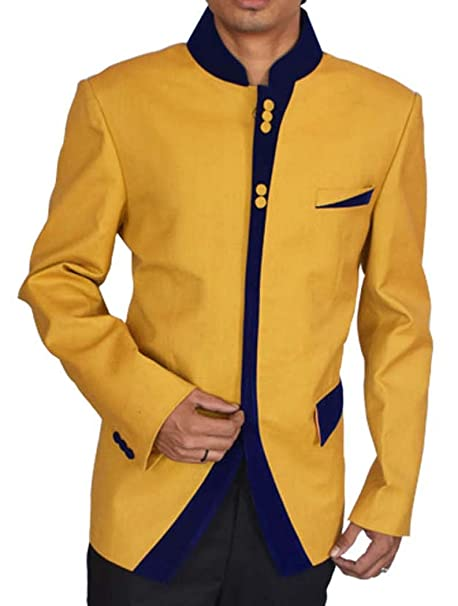 INMONARCH Hombres 2 Pc poliéster amarillo espectacular traje ...