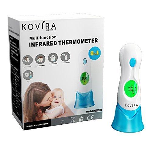 Kovira Medical 8-Funktionen-Infrarot-Stirn, Ohr, Objekt, Raumthermometer für Babys, Kinder&Erwachsene CE & ISO-zugelassen