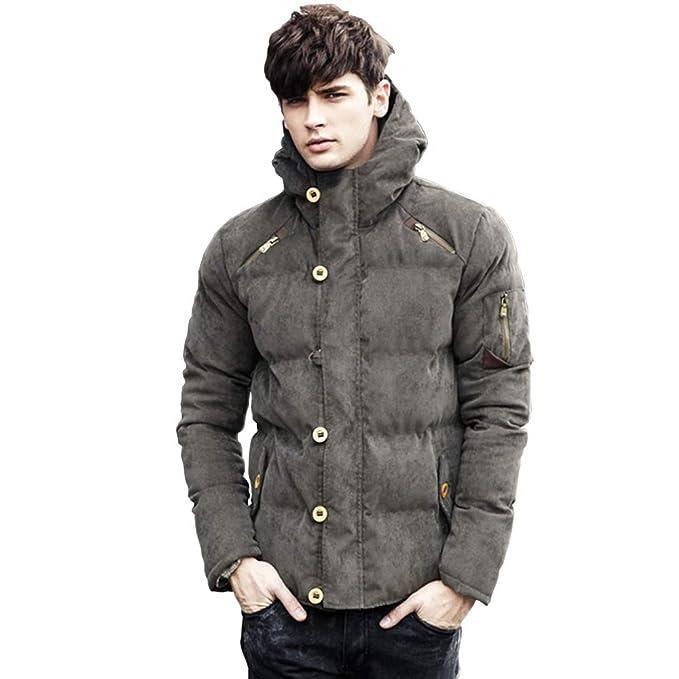 AMBLY メンズ ファッション 冬 服 カジュアル ダウン ジャケット アウター フード 付き 防寒着 上着 3 色