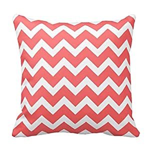 Coral and White Chevron Pattern Design Throw Pillow Cover Case Home Decorative Square 16X16 Inch Two Sides