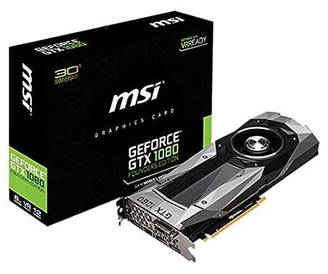 MSI GeForce GTX 1080 Founders Edition - Tarjeta gráfica de 8 GB (GDDR5 X, PCI Express x16 3.0, GP104-400, 1733/1607 MHz, HDMI, DL-DVI-D)