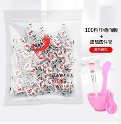 Maggie Children Compressed Paper mask Disposable mask Grimace Paste Buckle 100 DIY Tools Spa Beauty Products (100 + Family of Four Film Bowl
