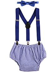 OBEEII Cake Smash Baby Boy 1st Birthday Suspenders Bottoms Bowtie Outfits 3pcs Set Clothes Photo Props Costume