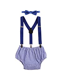 Baby Boy Cake Smash Outfit First Birthday Bowtie Adjustable Suspenders Clothes set Blue Plaid One Size