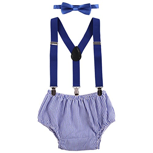 Baby Boys Cake Smash Outfit First Birthday Bloomers Bowtie Adjustable Y Back Suspenders Clothes set Royal Blue Striped One Size (Best Birthday Cakes For Boys)