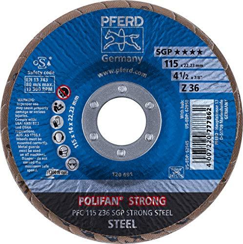 (PFERD Polifan SGP STRONG Abrasive Flap Disc, Type 29, Round Hole, Phenolic Resin Backing, Zirconia Alumina, 4-1/2