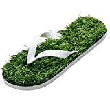 GAXmi Flip Flops Women Men Kids Summer Casual Artificial Lawn Grass Slippers White