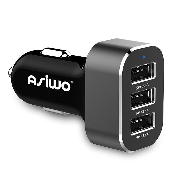 Asiwo 3 USB Cargador de teléfono de coche, carga inteligente ...