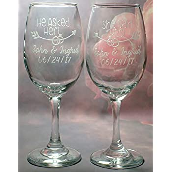 Decor Gifts 10.5 oz He Asked and She said Yes Party Beverage Drinking Glassware Cups for Water Liquor Circleware 77079 Fun Saying Stemless Champagne Flutes Wine Glasses Beer Whiskey Set of 2