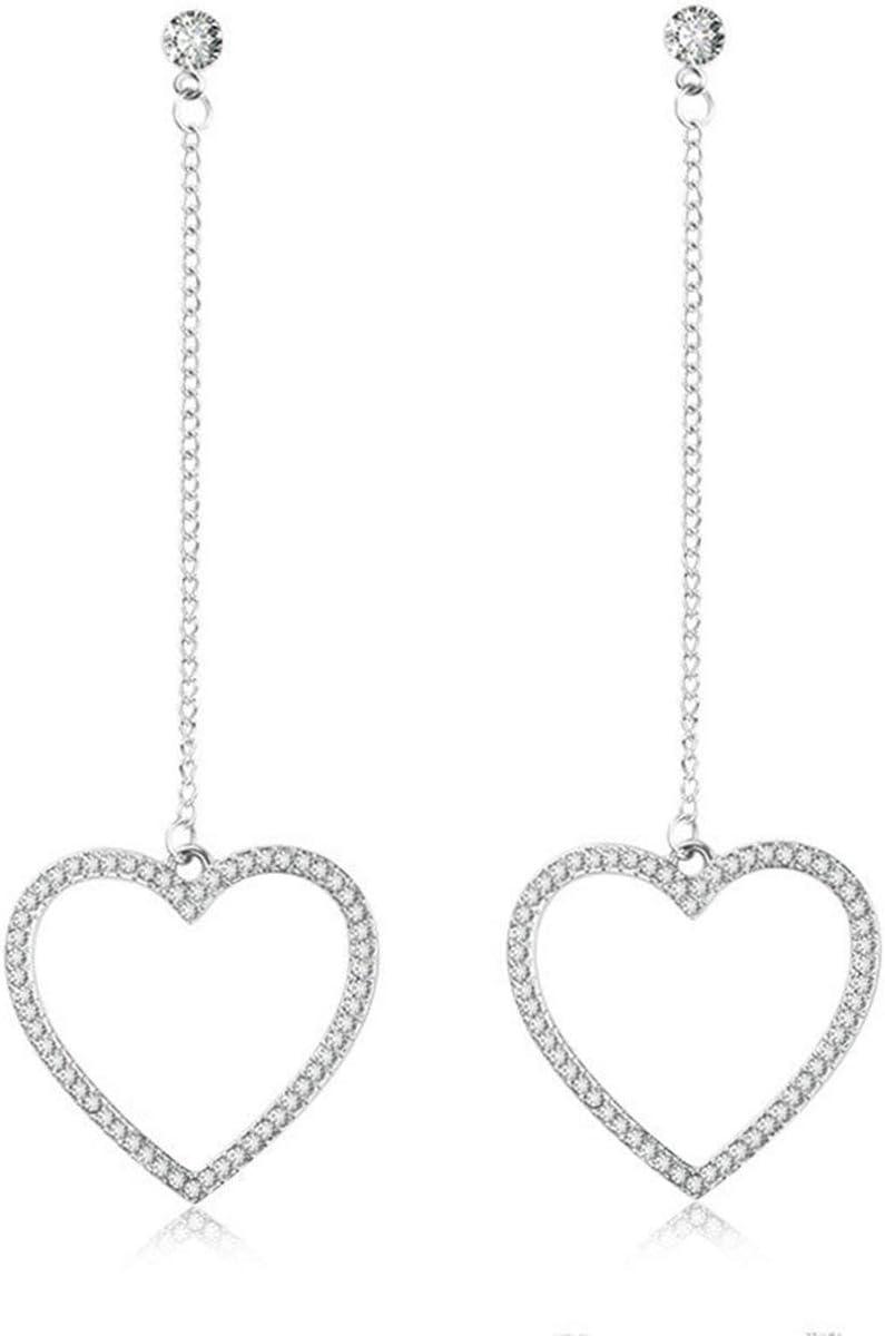 Tree-on-Life Pendientes Largos con Borla Larga de Amor de Diamantes Pendientes de Estrella en Forma de corazón Salvaje Plata
