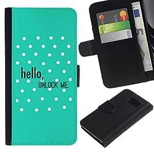 All Phone Most Case / Oferta Especial Cáscara Funda de cuero Monedero Cubierta de proteccion Caso / Wallet Case for Samsung Galaxy S6 // Hello Unlock Polka Dot Green Text
