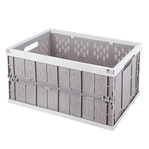 Mookis Collapsible Crates Trunk Organizer Storage Bin/Container for Car Home & Office Use (Grey + (Collapsible Plastic Crates)