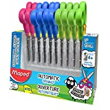 Maped Koopy Class Pack of 10 Pairs of 5-Inch Spring Scissors, Assorted Colors, 379249