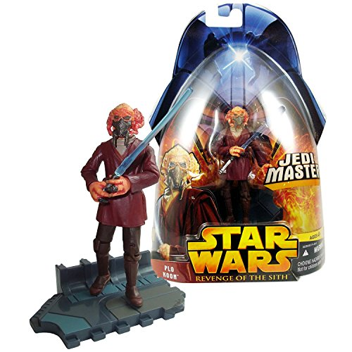 Star Wars Year 2005 Revenge of the Sith Movie Series 4 Inch Tall Figure - Jedi Master PLO KOON with Blue Lightsaber and Display - Master Jedi Plo Koon
