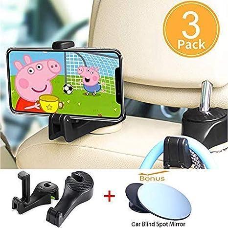 Starlife Ganchos para autos con soporte para teléfono, asiento trasero del vehículo Reposacabezas Organizador de